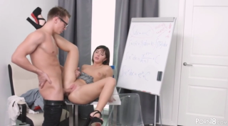 Nerdy schoolgirl is desperate to get a good fuck and to feel dick in her mouth