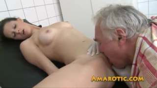 Fresh girl is having casual sex with an older guy in the hospital, in the office