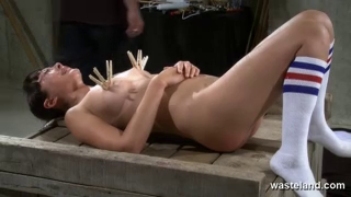 cute brunette is spanking and given hitatchi wand orgasms