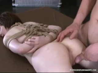 Beautiful bound oriental woman is bent over and fucked hard